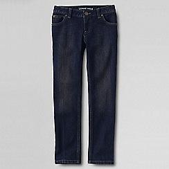 Lands' End - Girls' blue 5-pocket pencil leg denim jeans
