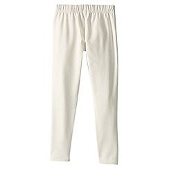 Lands' End - Cream little girls' plain ankle length leggings