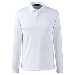 Lands' End - White tall long sleeve supima polo