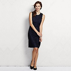 Lands' End - Black women's regular embroidered overlay shift dress