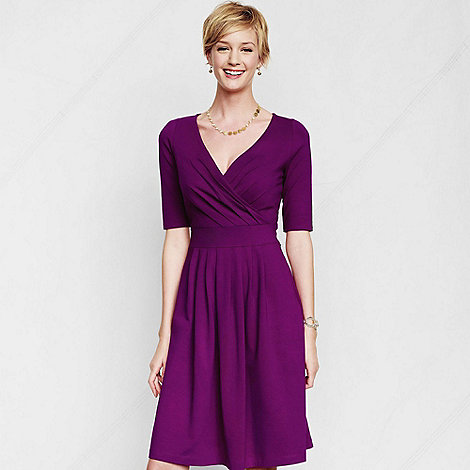 Lands+ End - Purple women+s regular elbow-sleeve jersey crossover dress