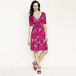 Lands' End - Pink women's regular elbow-sleeve patterned jersey crossover dress