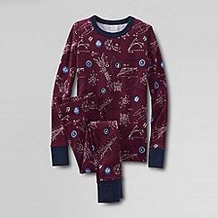 Lands' End - Red boys' snug-fit cotton pyjamas