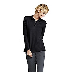Lands' End - Black women's sporty long sleeved pique polo