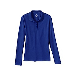 Lands' End - Blue women's sporty long sleeved pique polo