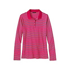 Lands' End - Pink women's striped long sleeve pima polo