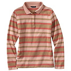 Lands' End - Multi women's striped long sleeve pima polo