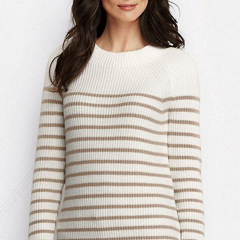 Lands+ End - Cream women+s striped shaker ballet neck jumper