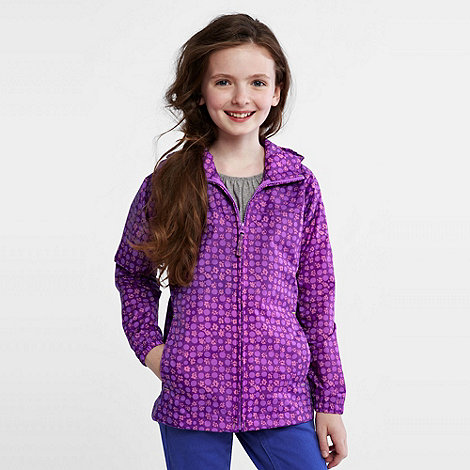 Lands+ End - Purple girls+ packable patterned rain jacket