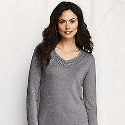 Lands' End - Grey women's merino blend shimmer cable trim v-neck