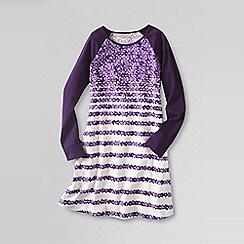 Lands' End - Purple little girls' long sleeve a-line cotton jersey dress