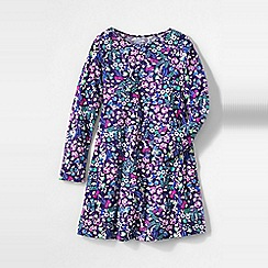 Lands' End - Multi girls' long sleeve a-line cotton jersey dress