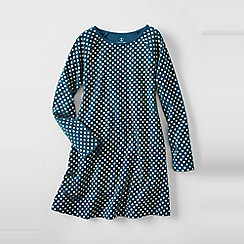 Lands' End - Blue girls' long sleeve a-line cotton jersey dress