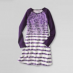 Lands' End - Purple girls' long sleeve a-line cotton jersey dress