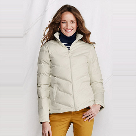 Lands+ End - Cream women+s chevron quilt down jacket