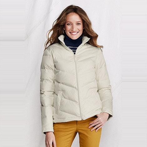 Lands+ End - Cream women+s chevron quilt down jacket