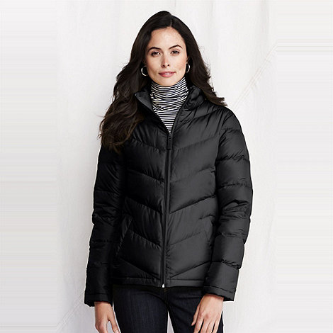 Lands+ End - Black women+s chevron quilt down jacket