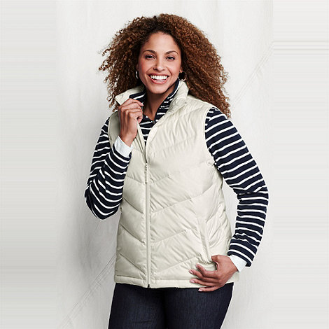 Lands+ End - Cream women+s plus down gilet