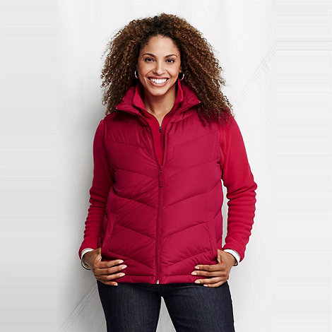 Lands+ End - Red women+s plus down gilet