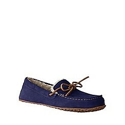 Lands' End - Blue women's suede moccasin slippers