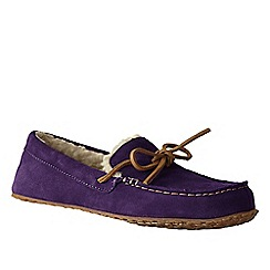 Lands' End - Purple women's suede moccasin slippers