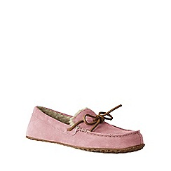 Lands' End - Pink women's suede moccasin slippers