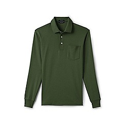 Lands' End - Green regular long sleeve supima polo with pocket