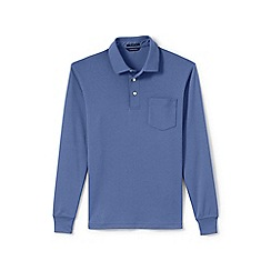 Lands' End - Purple regular long sleeve supima rugby shirt with pocket