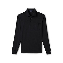 Lands' End - Black regular long sleeve supima polo with pocket