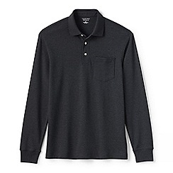 Lands' End - Grey regular long sleeve supima rugby shirt with pocket