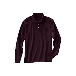Lands' End - Red regular long sleeve supima polo with pocket