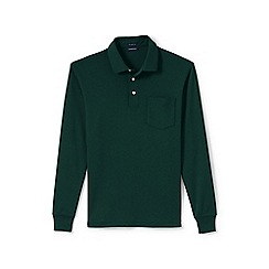 Lands' End - Green regular long sleeve supima rugby shirt with pocket