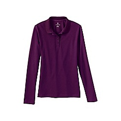Lands' End - Purple women's plus long sleeved sporty pique polo