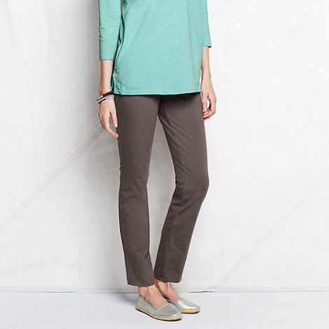 Lands+ End - Brown women+s tall stretch jersey slim-leg trousers