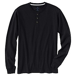 Lands' End - Black men's tall long sleeve super-t henley