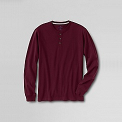 Lands' End - Red men's tall long sleeve super-t henley