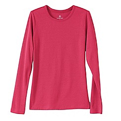Lands' End - Pink women's tall ribbed crew neck t-shirt