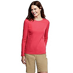 Lands' End - Red women's tall ribbed crew neck t-shirt tall