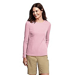 Lands' End - Pink women's tall ribbed crew neck t-shirt tall