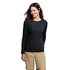 Lands' End - Black women's tall ribbed crew neck t-shirt tall