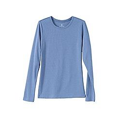 Lands' End - Blue women's tall ribbed crew neck t-shirt