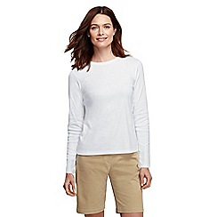 Lands' End - White women's tall ribbed crew neck t-shirt tall