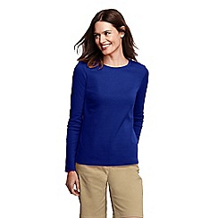 Lands' End - Blue women's tall ribbed crew neck t-shirt tall