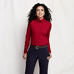 Lands' End - Red women's tall shaped supima long sleeve roll neck