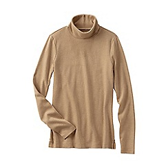 Lands' End - Beige women's tall shaped supima long sleeve roll neck