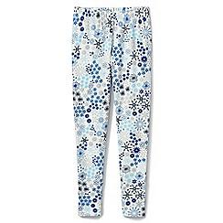 Lands' End - Girls' blue floral ankle length leggings
