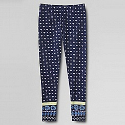 Lands' End - Blue girls' floral ankle length leggings
