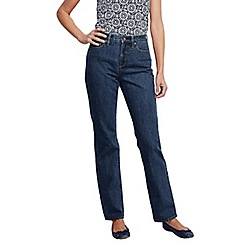 Lands' End - Blue women's regular medium indigo wash high rise straight leg jeans