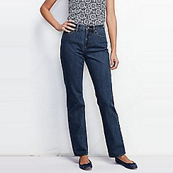 Lands' End - Blue women's petite medium wash high rise straight leg jeans