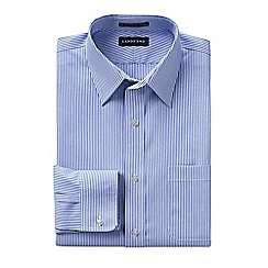 Lands' End - Blue men's patterned slim fit straight collar easy-iron pinpoint shirt